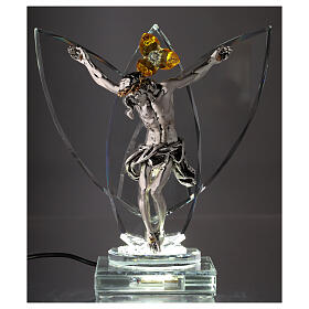 Crucifix with light in glass and metal with amber flower s2