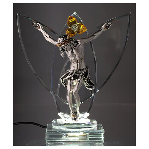 Crucifix with light in glass and metal with amber flower 2