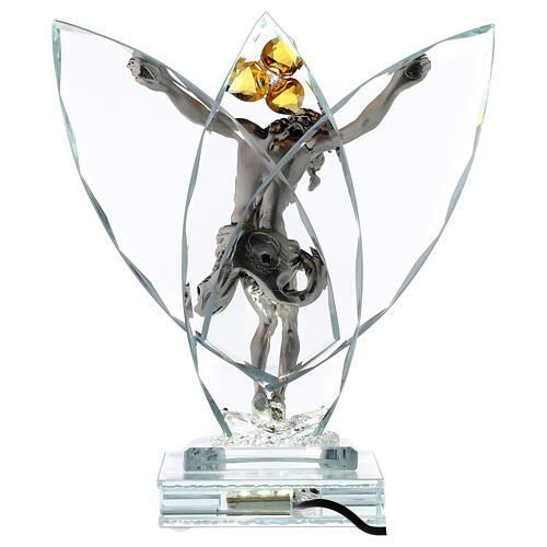 Crucifix with light in glass and metal with amber flower 5