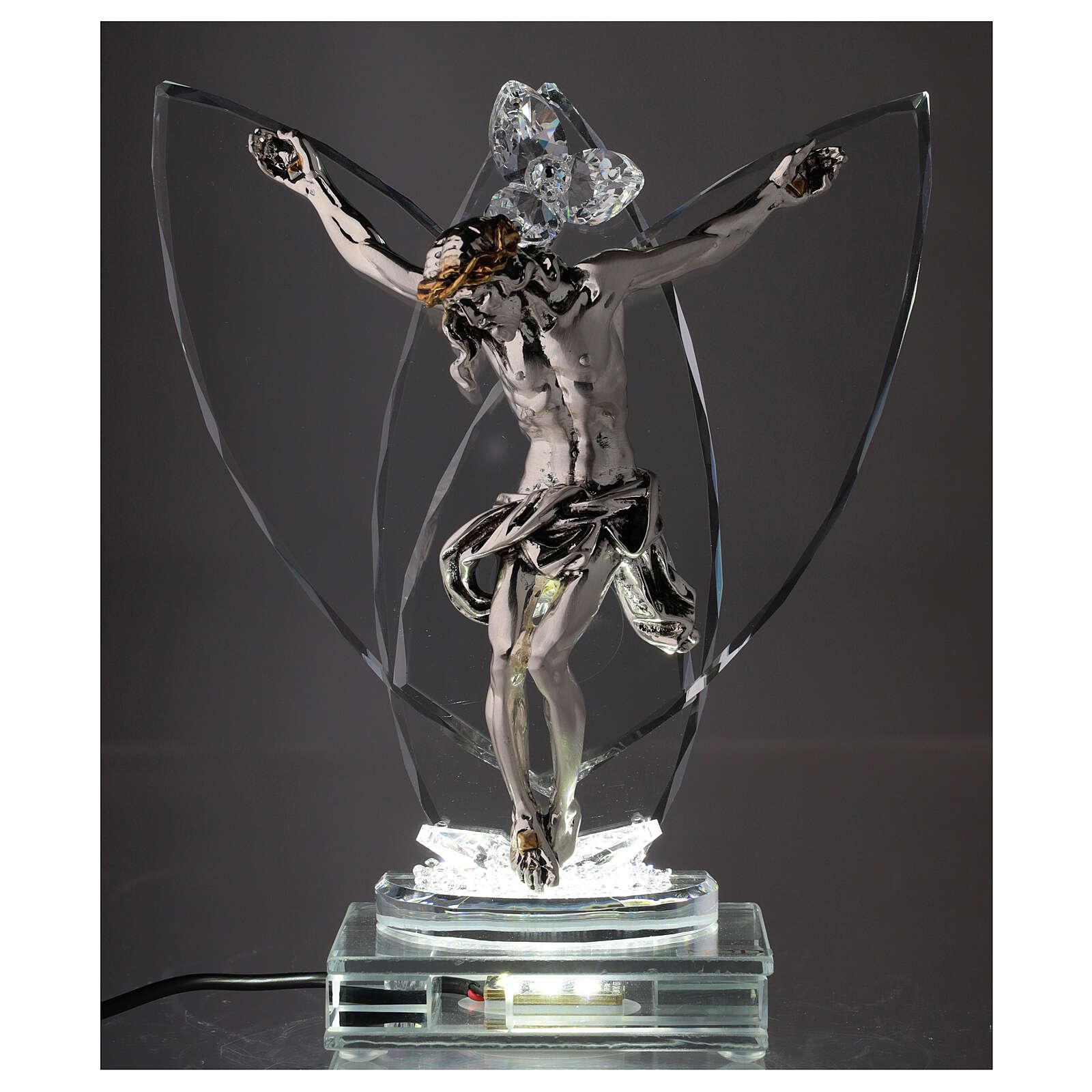 Crucifix argent laminé avec lampe verre 4