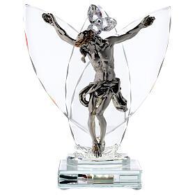 Crucifix argent laminé avec lampe verre s1