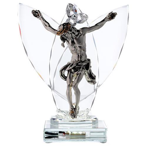 Crucifix argent laminé avec lampe verre 1