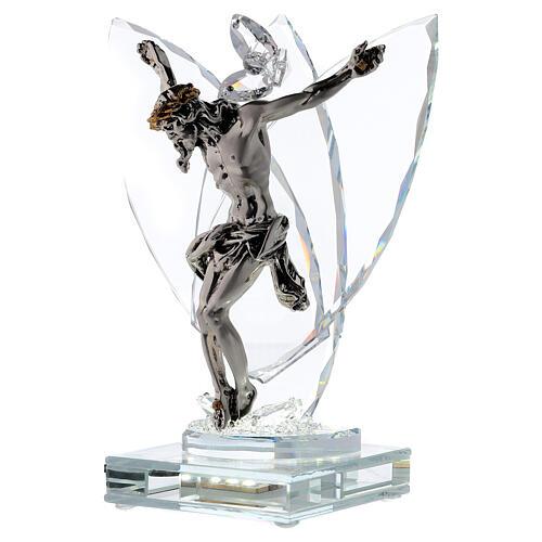 Crucifix argent laminé avec lampe verre 3