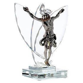 Crocefisso argento laminato con lampada vetro s4