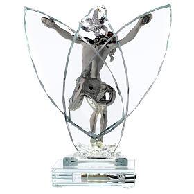 Crocefisso argento laminato con lampada vetro s5
