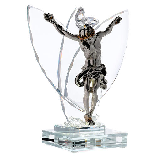 Crocefisso argento laminato con lampada vetro 4