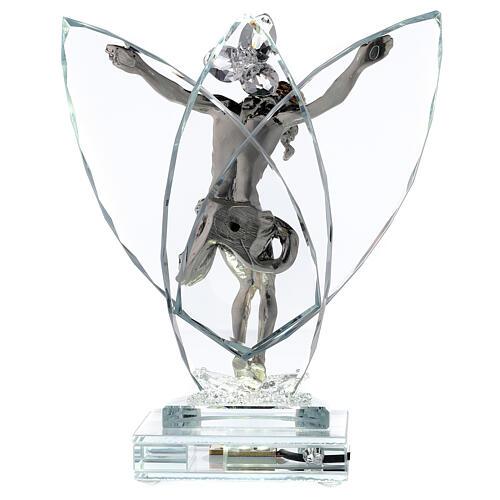 Crocefisso argento laminato con lampada vetro 5