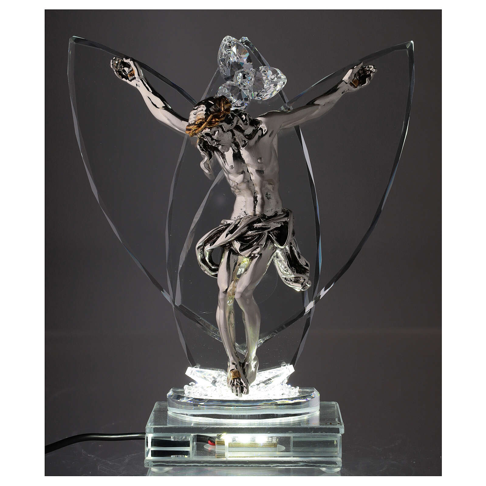 Crucifix with light in glass and laminated silver 4