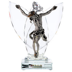 Crucifix with light in glass and laminated silver s1