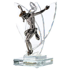 Crucifix with light in glass and laminated silver s3