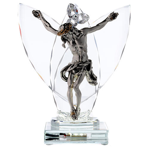 Crucifix with light in glass and laminated silver 1