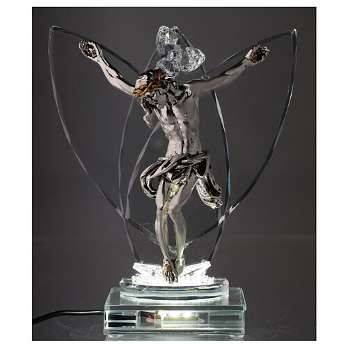 Crucifix with light in glass and laminated silver 2