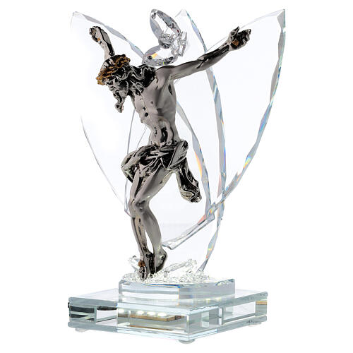 Crucifix with light in glass and laminated silver 3