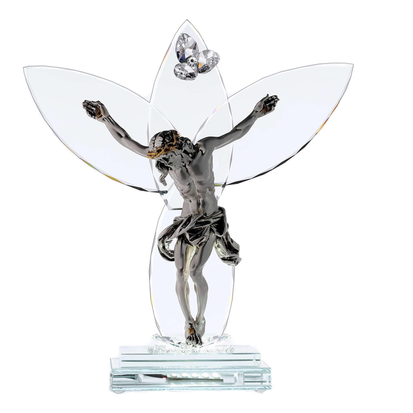 Crucifijo vidrio y cuerpo metal con lámpara 4