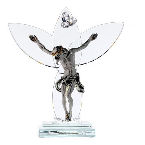 Crucifijo vidrio y cuerpo metal con lámpara 1