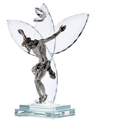 Crucifijo vidrio y cuerpo metal con lámpara 3