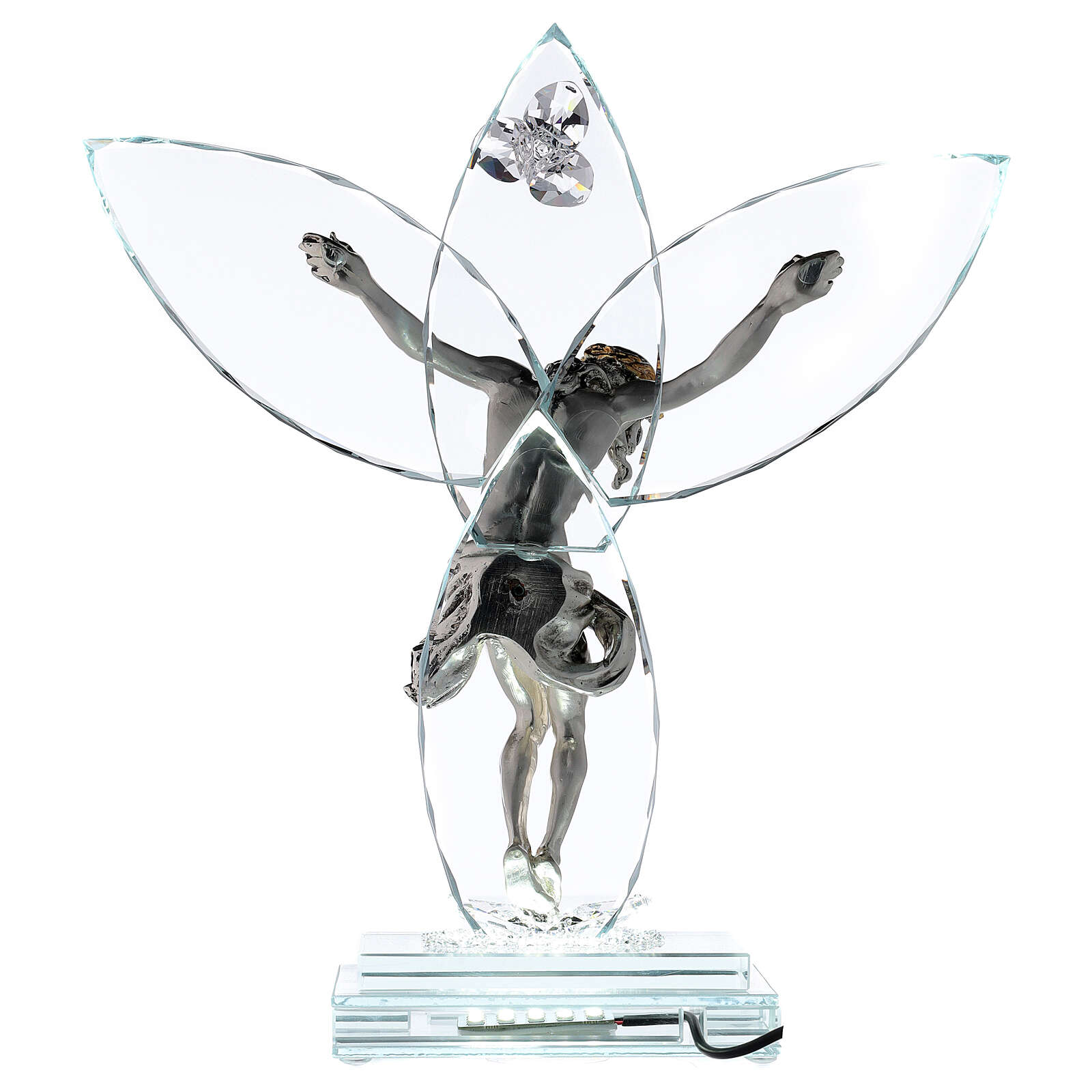 Crucifix verre et corps métal avec lampe 4