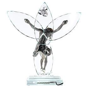 Crucifix verre et corps métal avec lampe s5