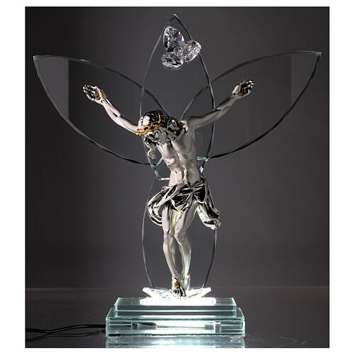Crucifix verre et corps métal avec lampe 2