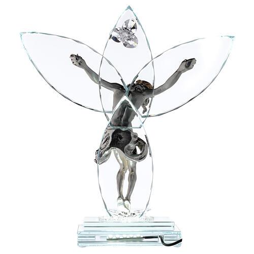 Crucifix verre et corps métal avec lampe 5