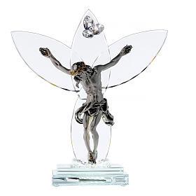 Crocefisso vetro e corpo metallo con lampada s1