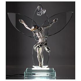 Crocefisso vetro e corpo metallo con lampada s2