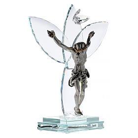 Crocefisso vetro e corpo metallo con lampada s4