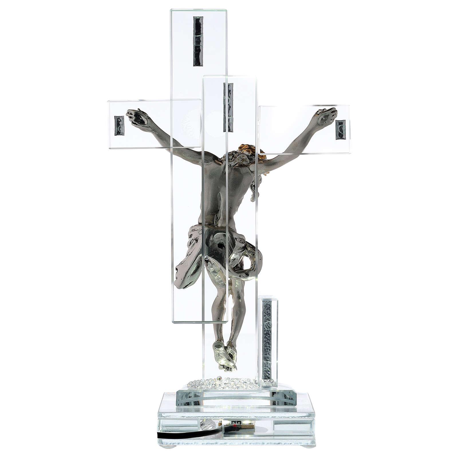 Crucifix avec lampe cristal et corps métal 4