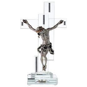 Crucifix avec lampe cristal et corps métal s1