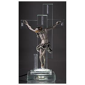 Crucifix avec lampe cristal et corps métal s2