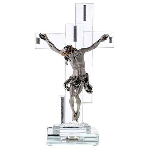 Crucifix avec lampe cristal et corps métal 1