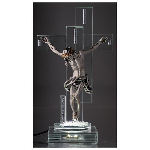 Crucifix avec lampe cristal et corps métal 2