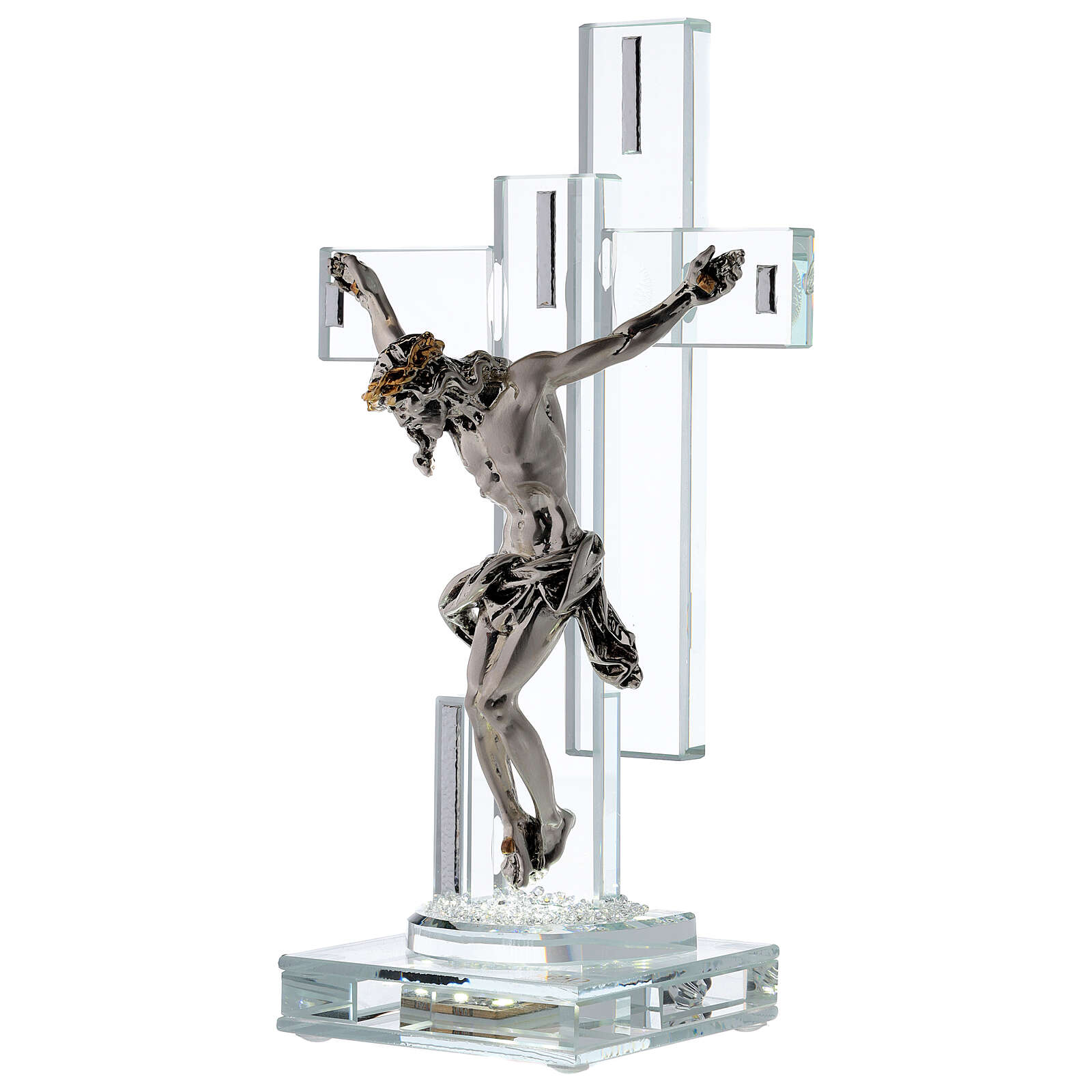 Modern Crucifix with light and metal body of Christ 4
