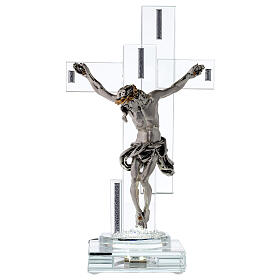 Modern Crucifix with light and metal body of Christ s1