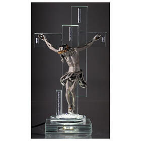 Modern Crucifix with light and metal body of Christ s2