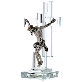 Modern Crucifix with light and metal body of Christ s3