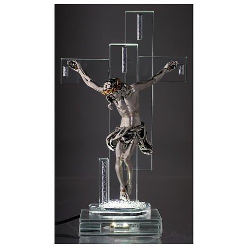 Modern Crucifix with light and metal body of Christ 2