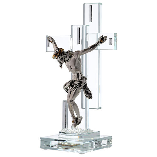 Modern Crucifix with light and metal body of Christ 3