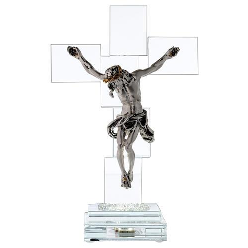 Crucifijo cristal con lámpara 1