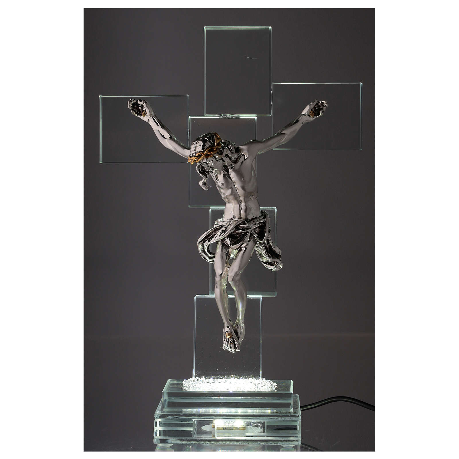 Crocefisso cristallo con lampada 4