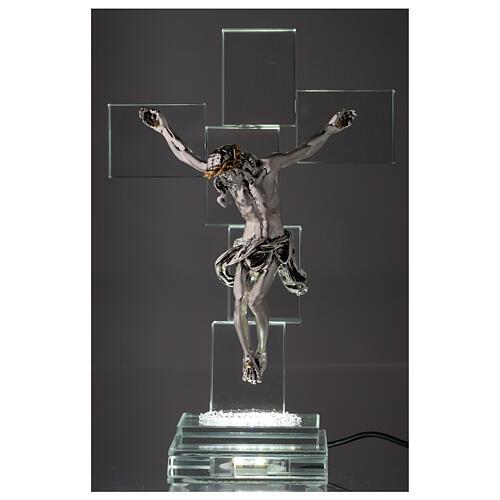 Crocefisso cristallo con lampada 2