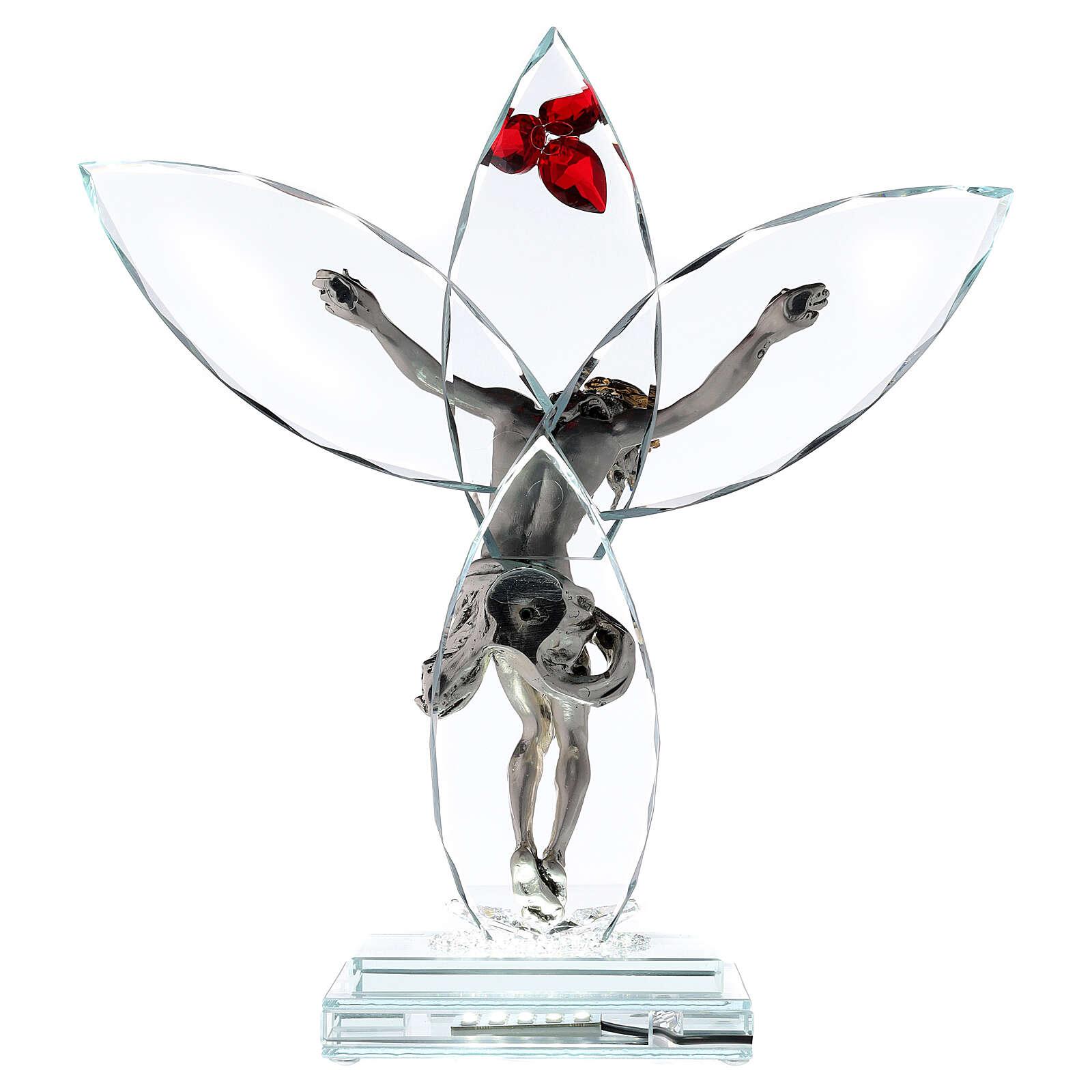 Crucifijo vidrio flor roja lámpara 4