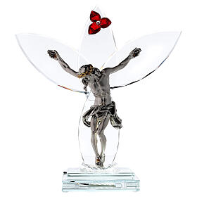 Crucifijo vidrio flor roja lámpara s1