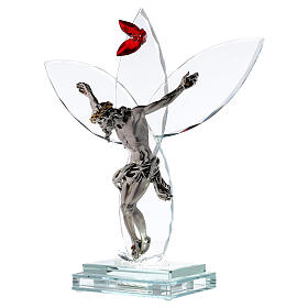 Crucifijo vidrio flor roja lámpara s3