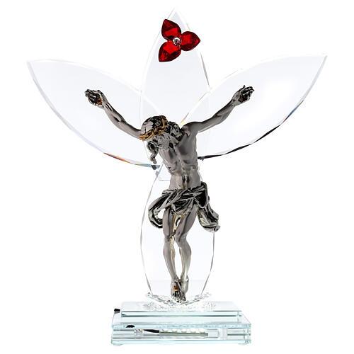 Crucifijo vidrio flor roja lámpara 1