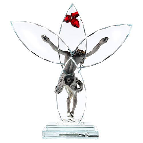 Crucifijo vidrio flor roja lámpara 5