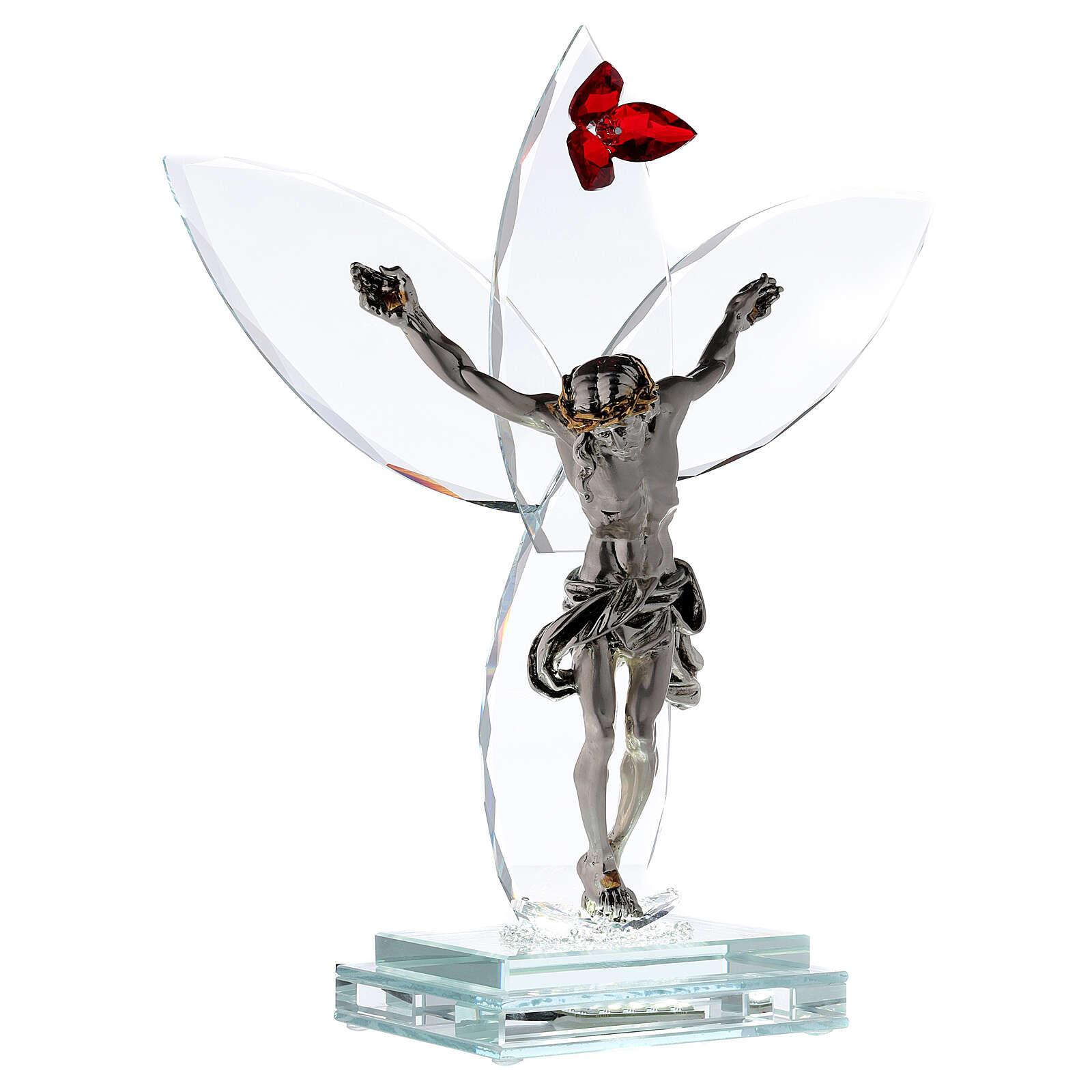 Crocefisso vetro fiore rosso lampada 4