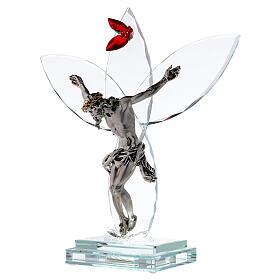 Crocefisso vetro fiore rosso lampada s3