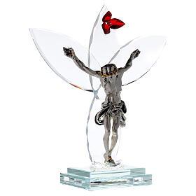 Crocefisso vetro fiore rosso lampada s4
