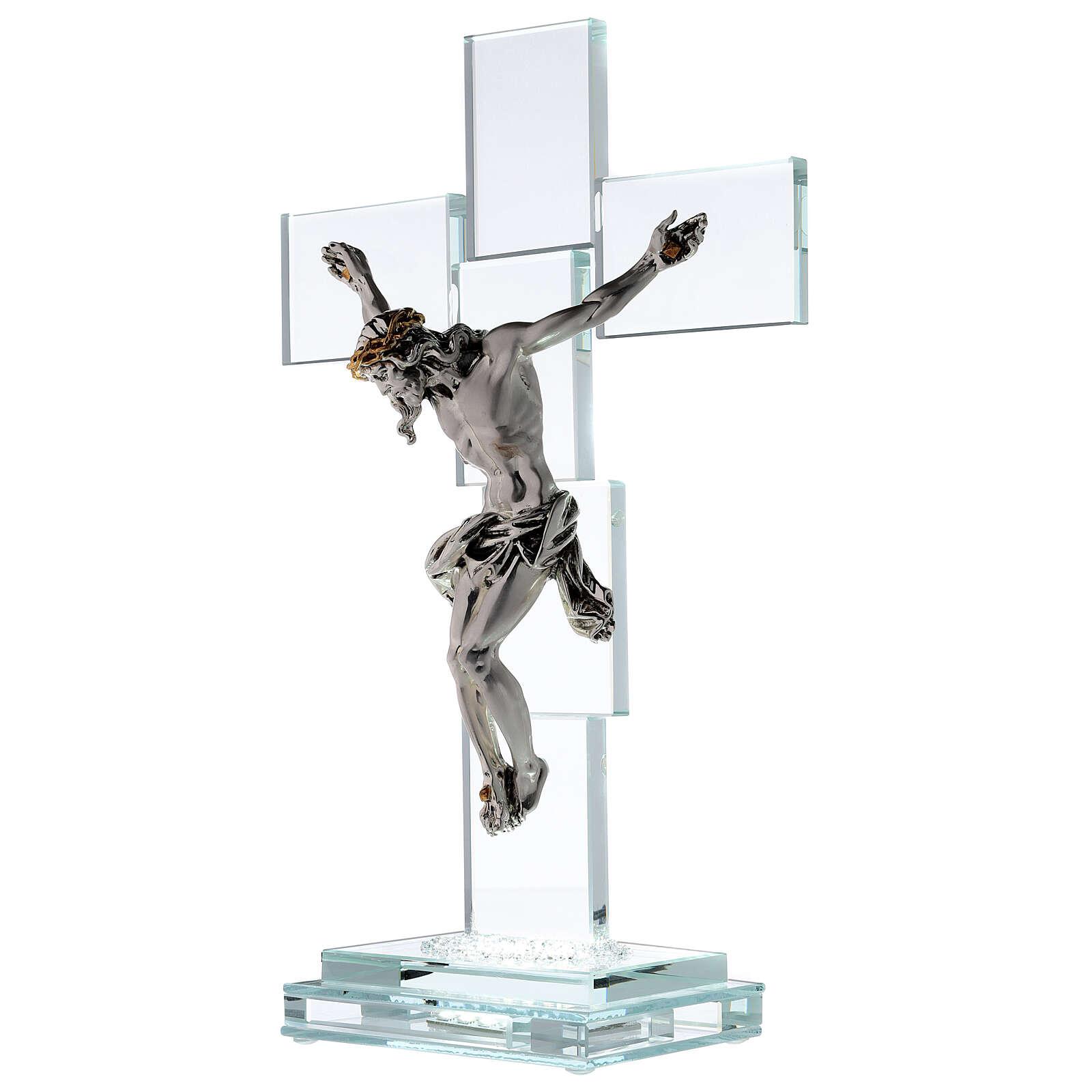 Crucfijo cristal cuerpo metal y lámpara 4